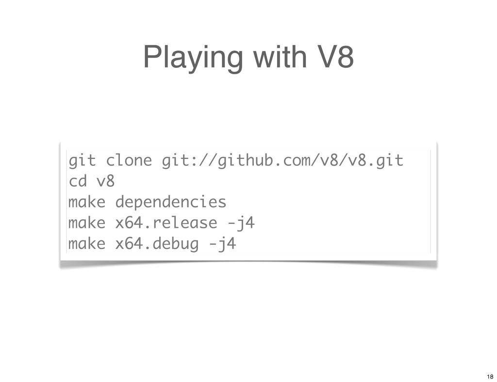 Playing with V8 git clone git://github.com/v8/v...