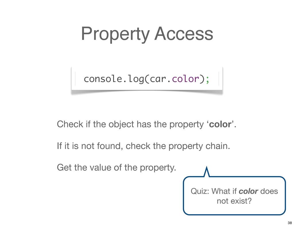 Property Access console.log(car.color); Check i...