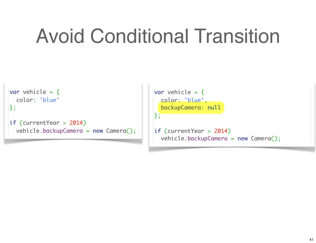 Avoid Conditional Transition var vehicle = { co...