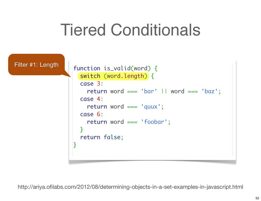 Tiered Conditionals function is_valid(word) { s...