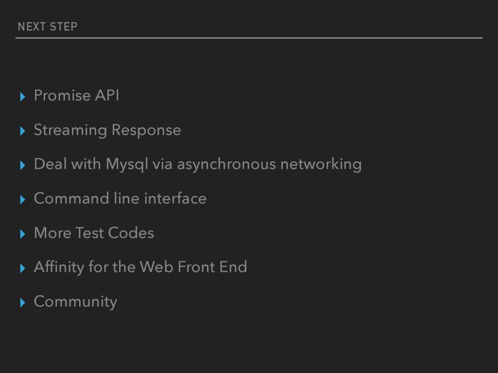 NEXT STEP ▸ Promise API ▸ Streaming Response ▸ ...