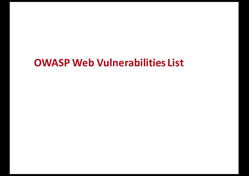 OWASP Web Vulnerabilities List
