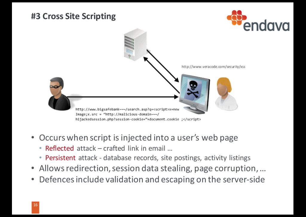 16 16 #3 Cross Site Scripting • Occurs when scr...