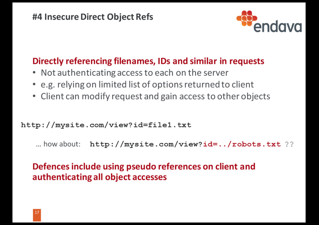 17 17 #4 Insecure Direct Object Refs Directly r...