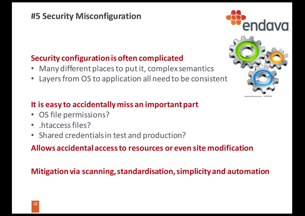 18 18 #5 Security Misconfiguration Security con...