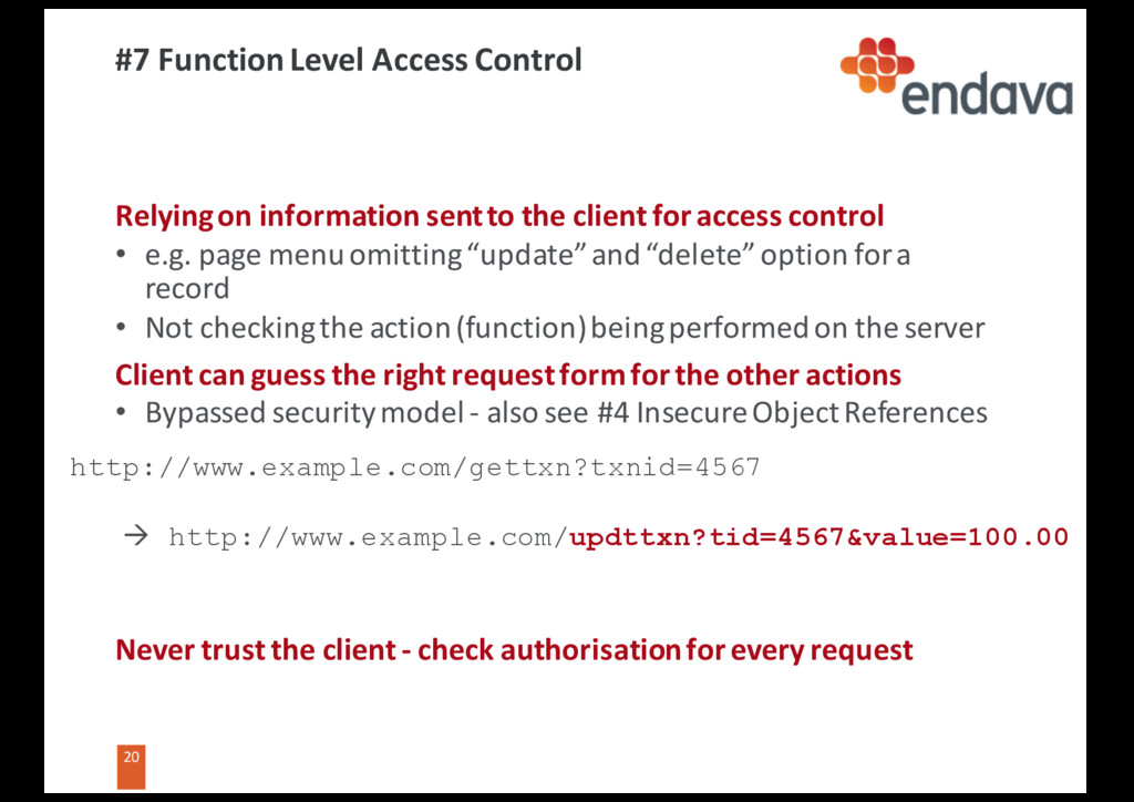 20 20 #7 Function Level Access Control Relying ...