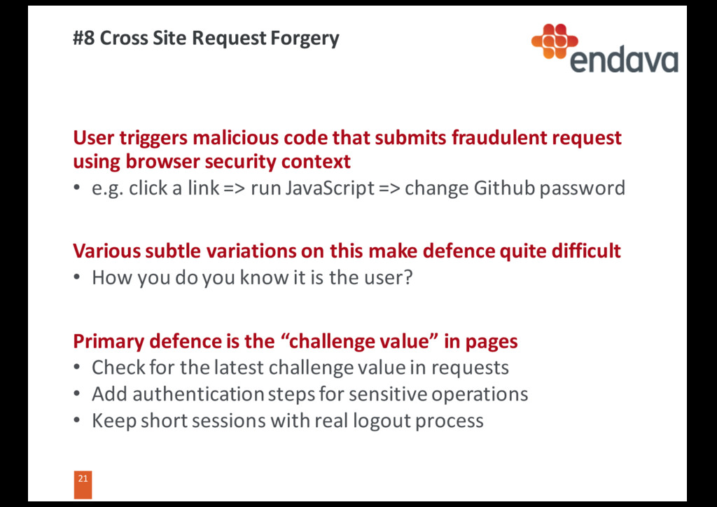 21 21 #8 Cross Site Request Forgery User trigge...