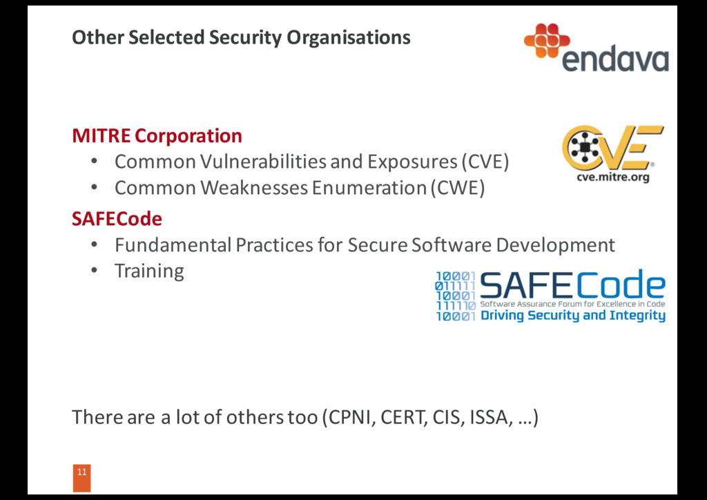 11 11 Other Selected Security Organisations MIT...