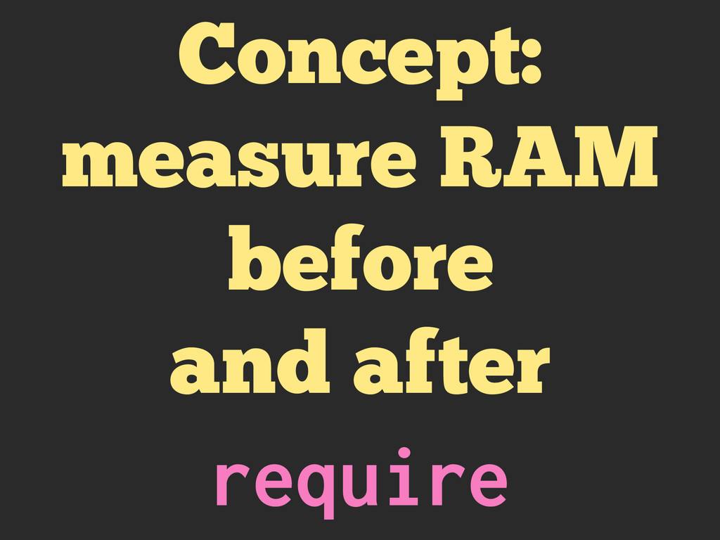 Concept: measure RAM before and after require