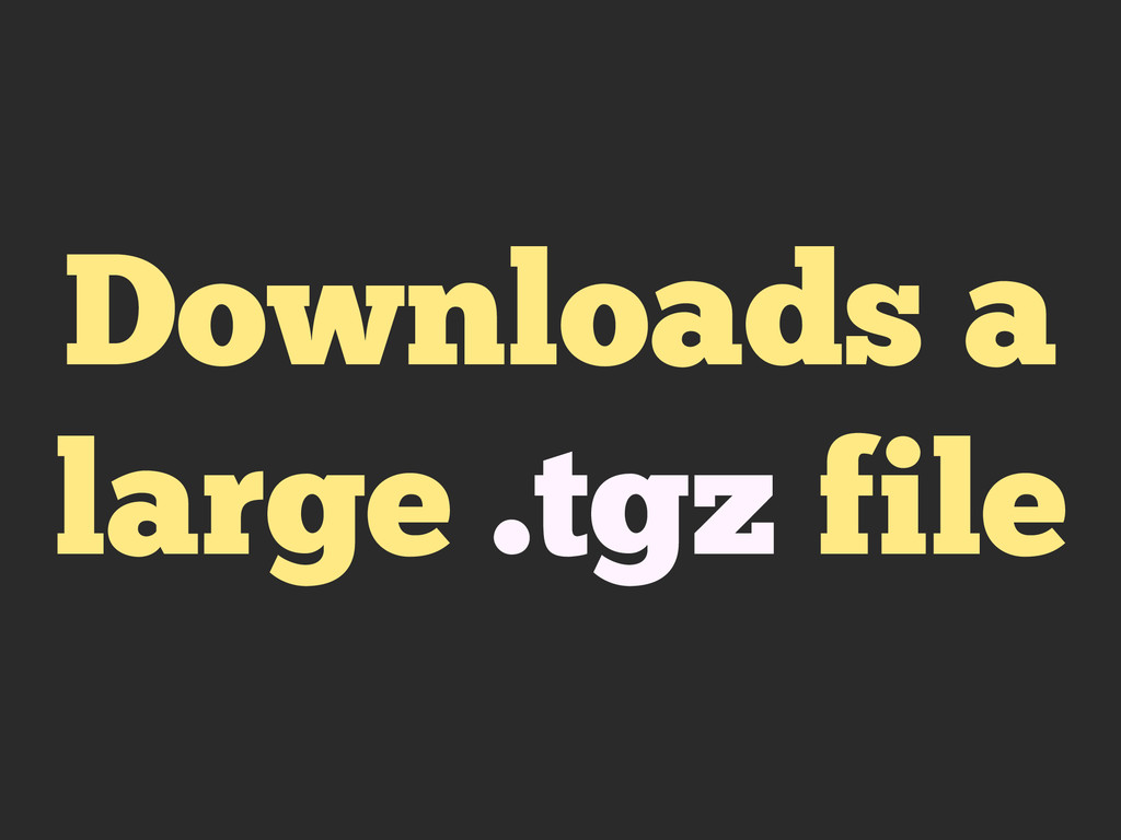 Downloads a large .tgz file