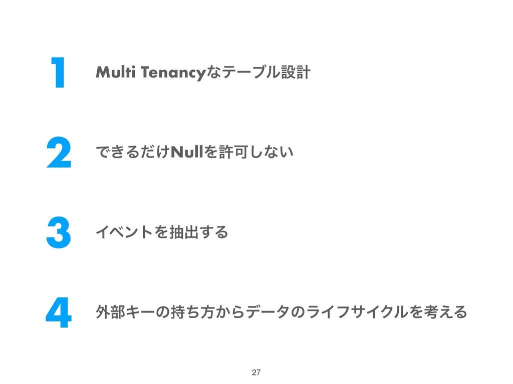 1 Multi Tenancyͳςʔϒϧઃܭ 2 Ͱ͖Δ͚ͩNullΛڐՄ͠ͳ͍ 3 Πϕϯτ...