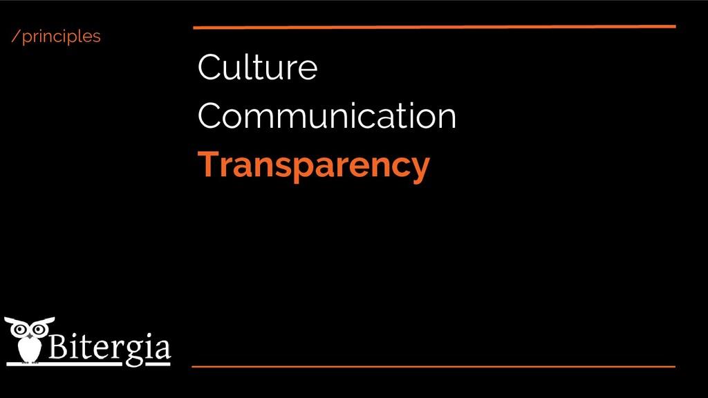 /principles Culture Communication Transparency