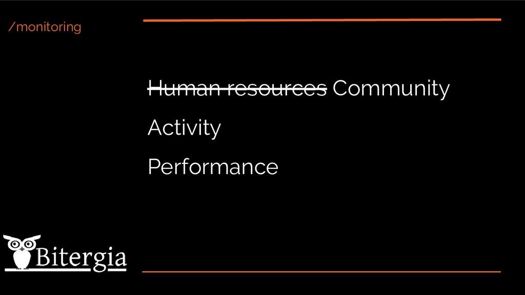 /monitoring Human resources Community Activity ...