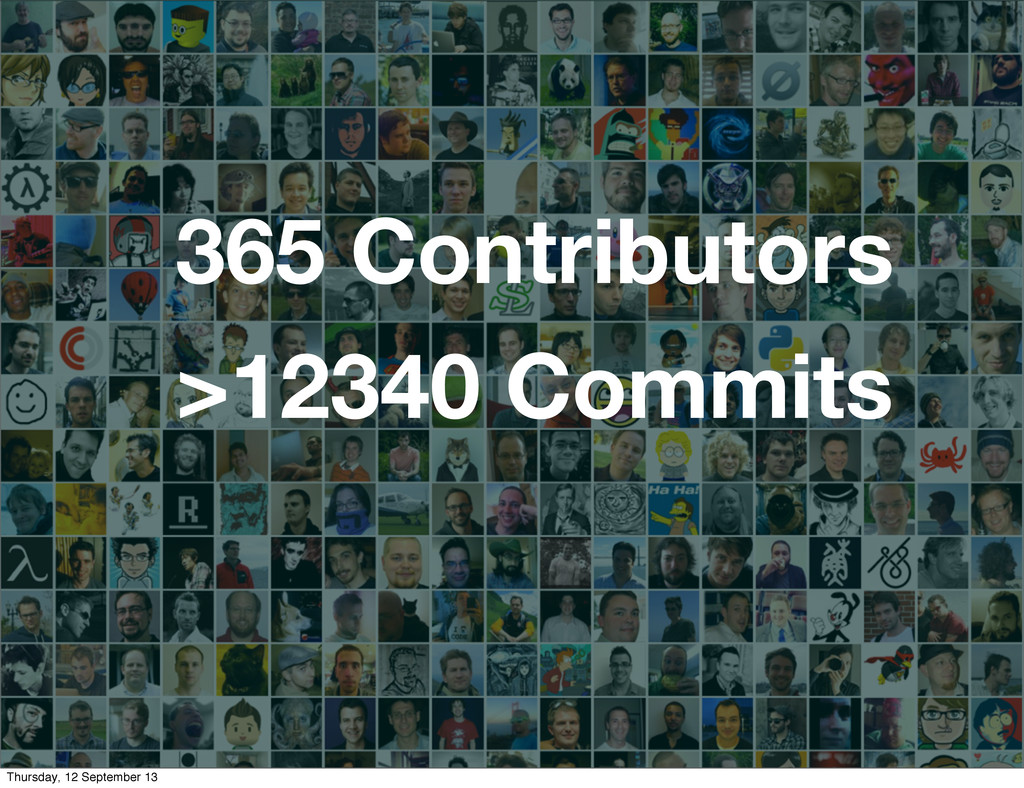 365 Contributors >12340 Commits Thursday, 12 Se...