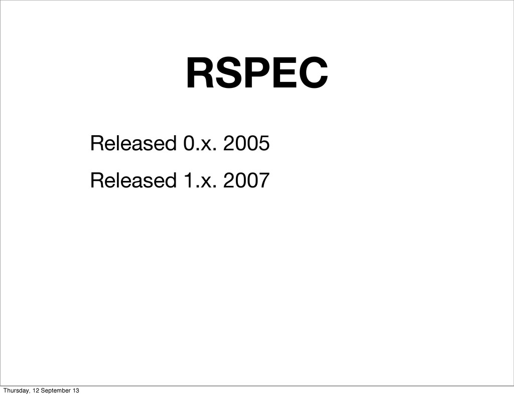 RSPEC Released 0.x. 2005 Released 1.x. 2007 Thu...