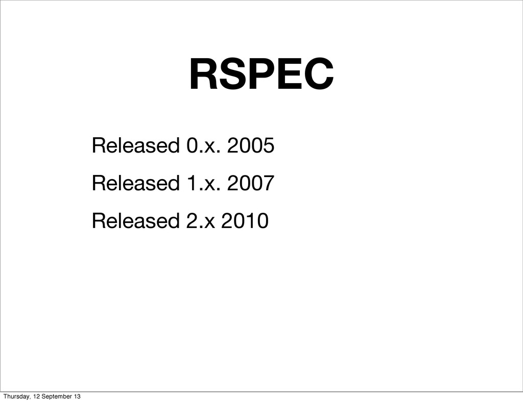 RSPEC Released 0.x. 2005 Released 1.x. 2007 Rel...