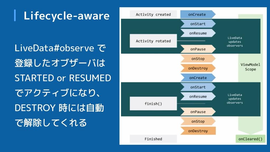 Lifecycle-aware LiveData#observe で 登録したオブザーバは S...