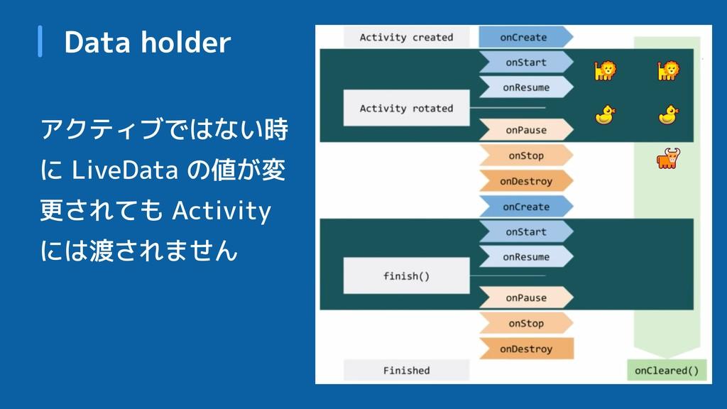 Data holder アクティブではない時 に LiveData の値が変 更されても Ac...