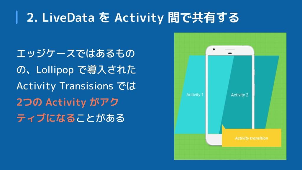 2. LiveData を Activity 間で共有する エッジケースではあるもの の、Lo...