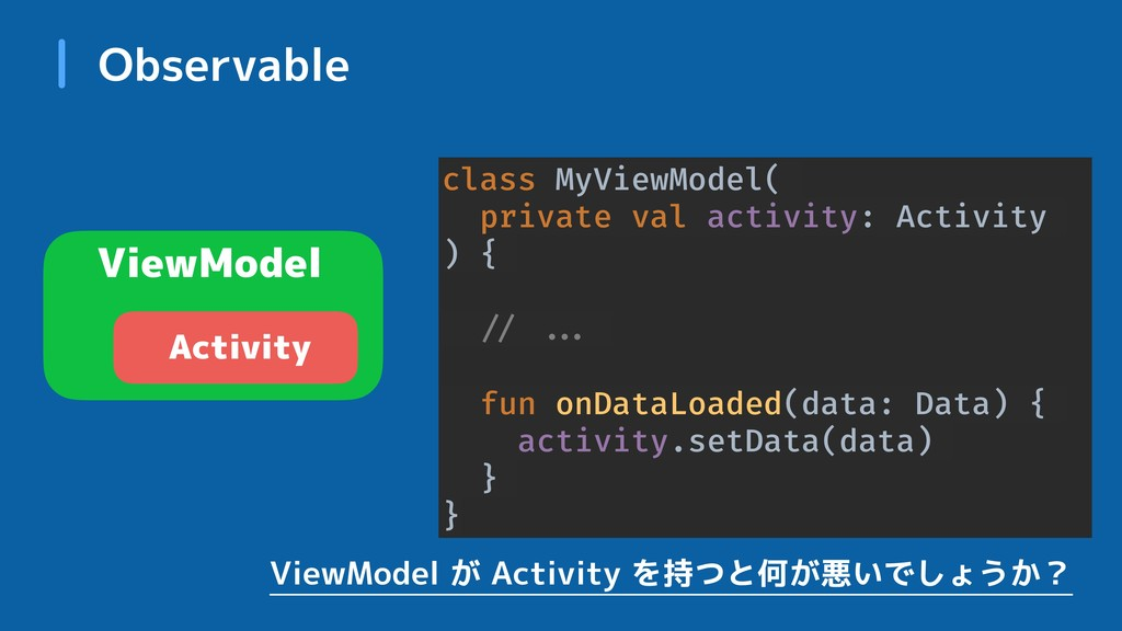 Observable ViewModel Activity class MyViewModel...