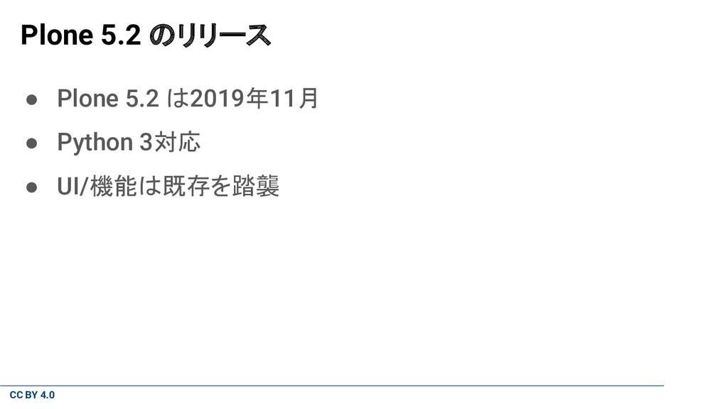 CC BY 4.0 Plone 5.2 のリリース ● Plone 5.2 は2019年11月...