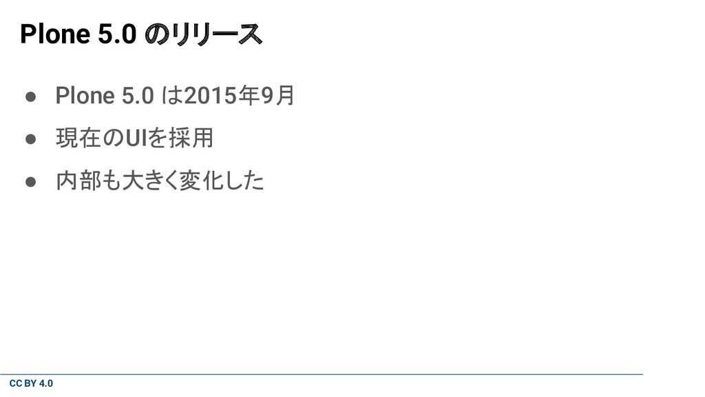 CC BY 4.0 Plone 5.0 のリリース ● Plone 5.0 は2015年9月 ...