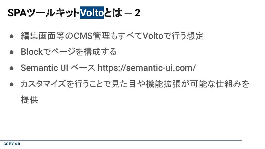 CC BY 4.0 SPAツールキットVoltoとは ─ 2 ● 編集画面等のCMS管理もすべ...