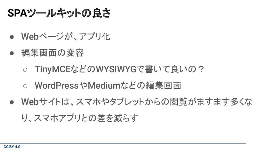 CC BY 4.0 SPAツールキットの良さ ● Webページが、アプリ化 ● 編集画面の変容...