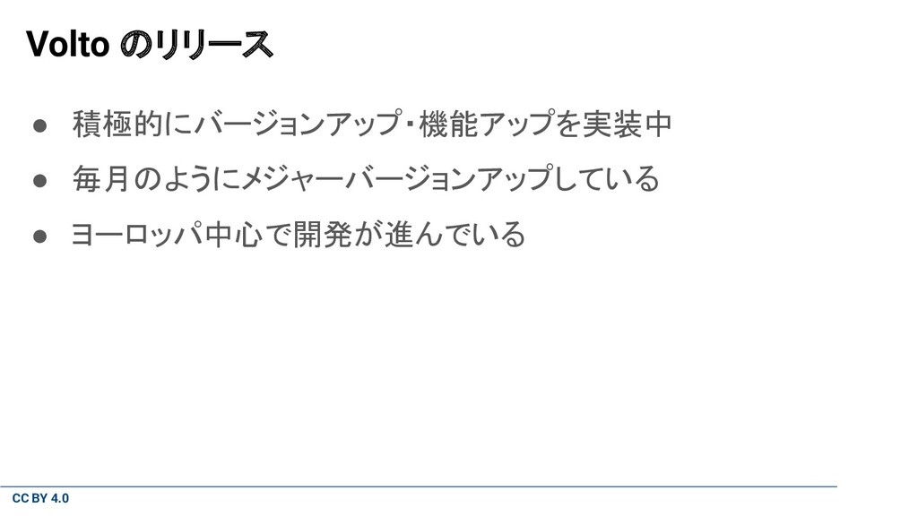 CC BY 4.0 Volto のリリース ● 積極的にバージョンアップ・機能アップを実装中 ...