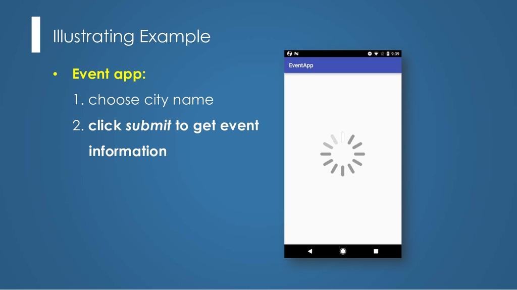 Illustrating Example • Event app: 1. choose cit...
