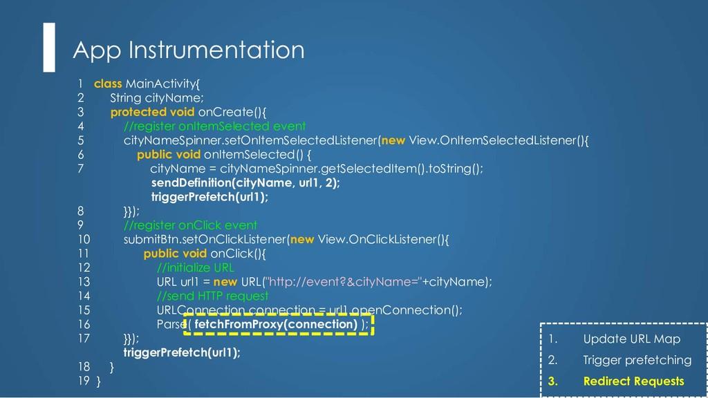 App Instrumentation 1 class MainActivity{ 2 Str...