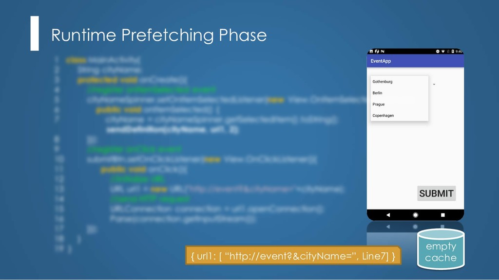 Runtime Prefetching Phase empty cache { url1: [...