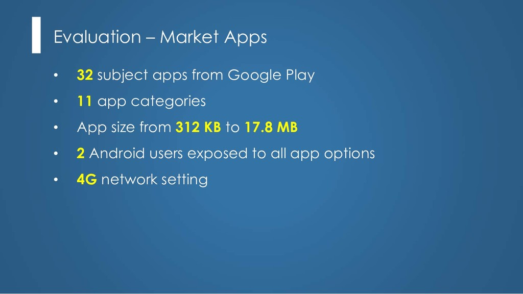 Evaluation – Market Apps • 32 subject apps from...
