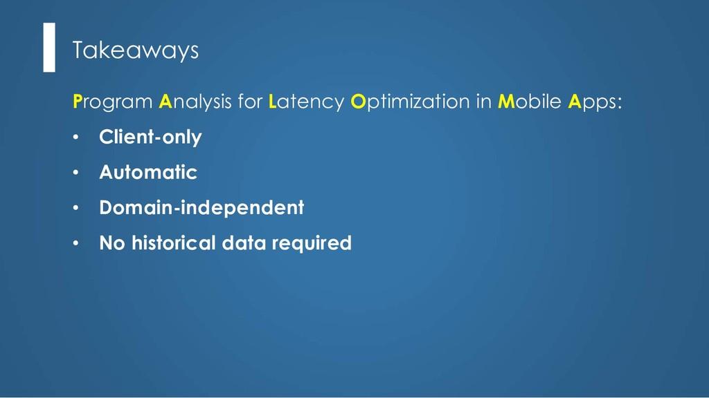 Takeaways Program Analysis for Latency Optimiza...