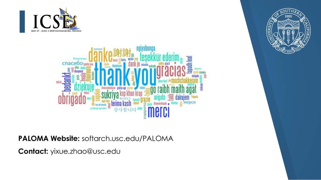 Contact: yixue.zhao@usc.edu PALOMA Website: sof...