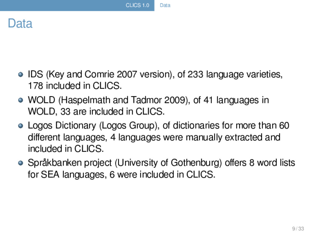 CLICS 1.0 Data Data IDS (Key and Comrie 2007 ve...