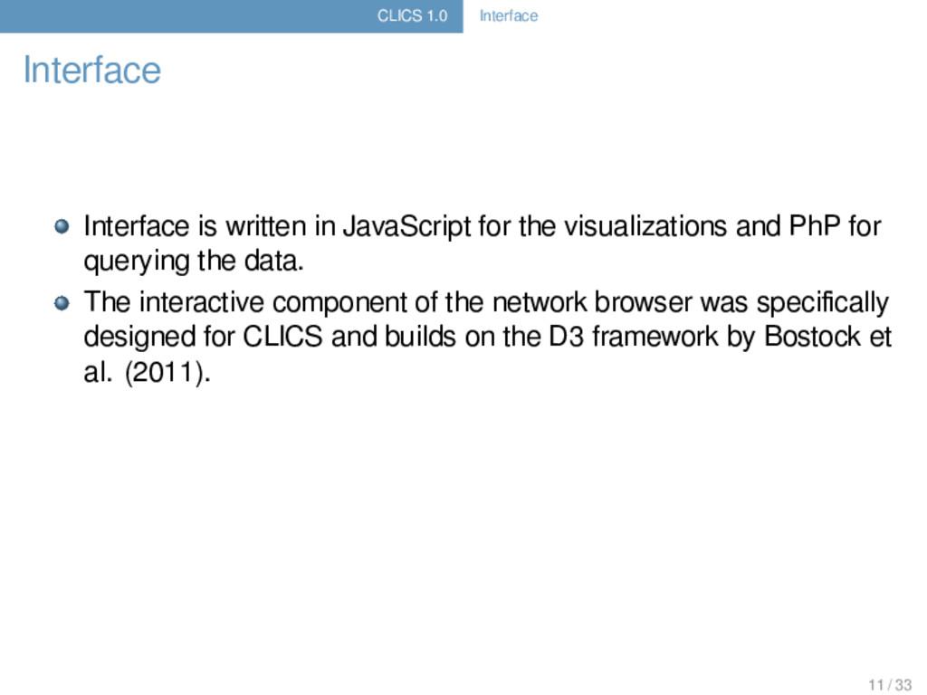 CLICS 1.0 Interface Interface Interface is writ...