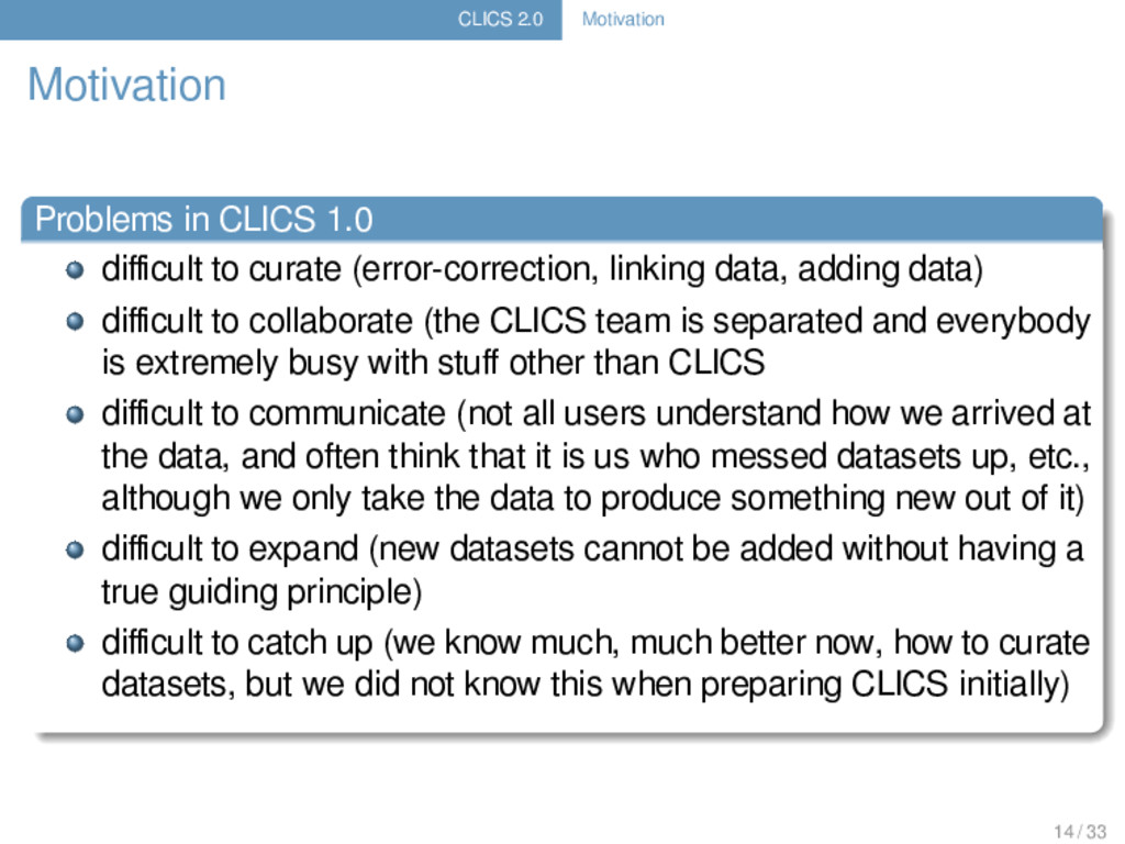 CLICS 2.0 Motivation Motivation Problems in CLI...