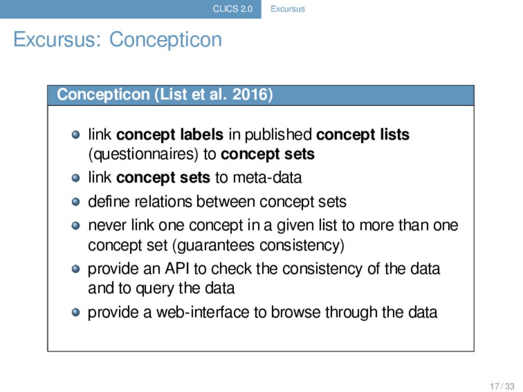 CLICS 2.0 Excursus Excursus: Concepticon Concep...