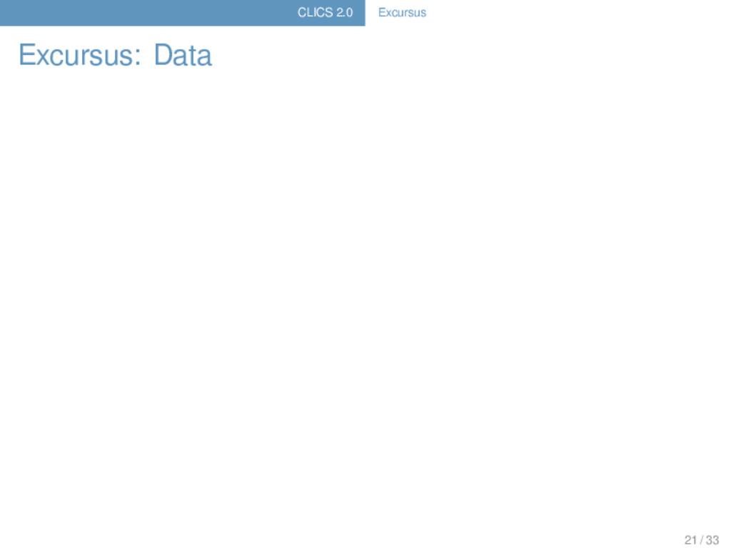 CLICS 2.0 Excursus Excursus: Data 21 / 33