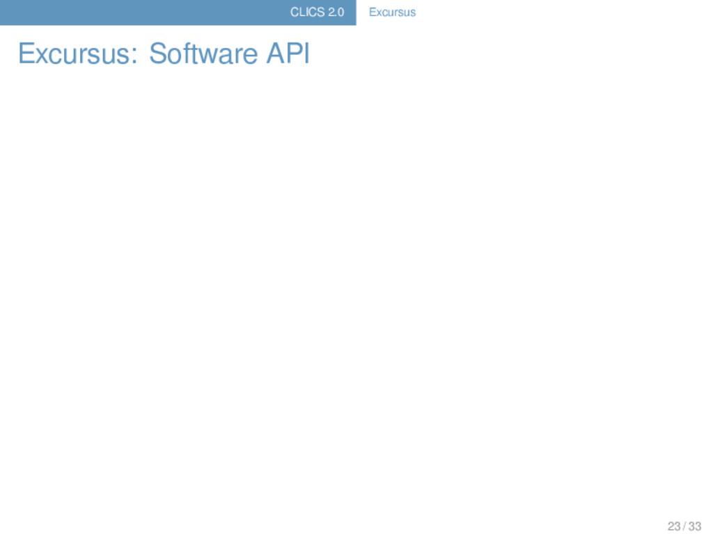 CLICS 2.0 Excursus Excursus: Software API 23 / ...