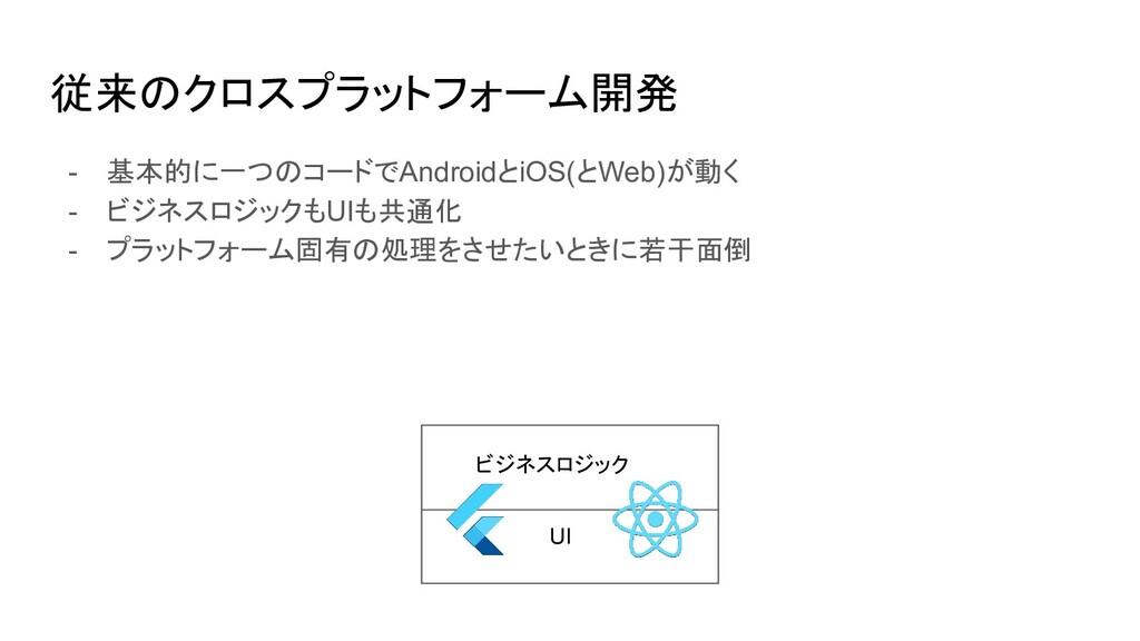 従来のクロスプラットフォーム開発 - 基本的に一つのコードでAndroidとiOS(とWeb)...