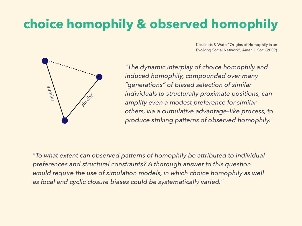 "choice homophily & observed homophily ""The dyna..."