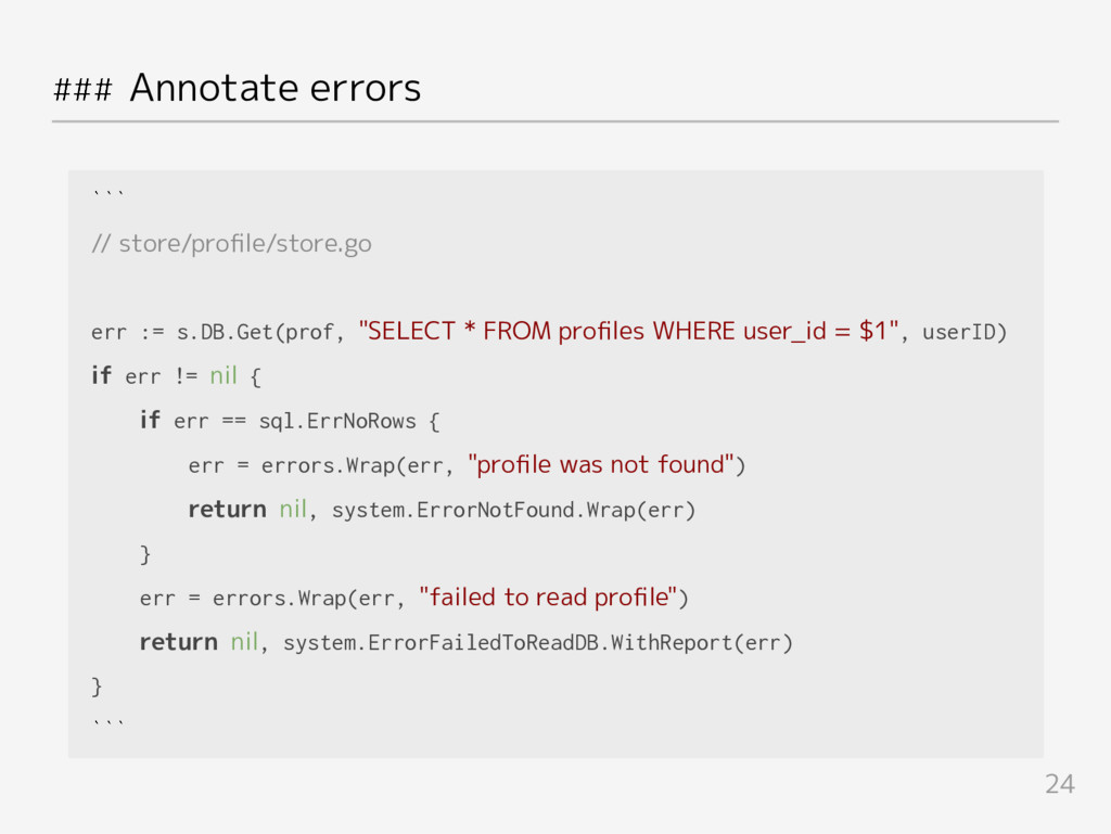### Annotate errors ``` // store/profile/store.g...