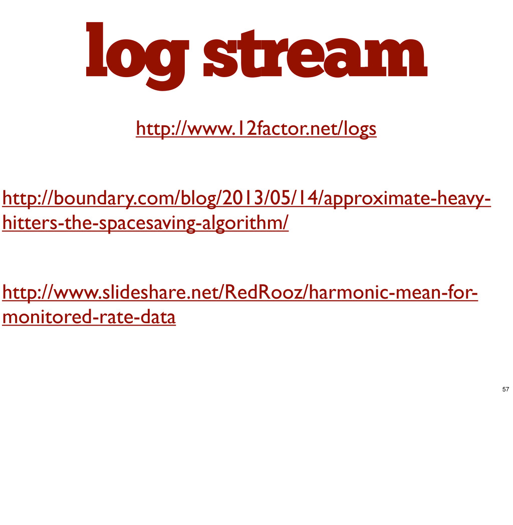log stream http://www.12factor.net/logs http://...