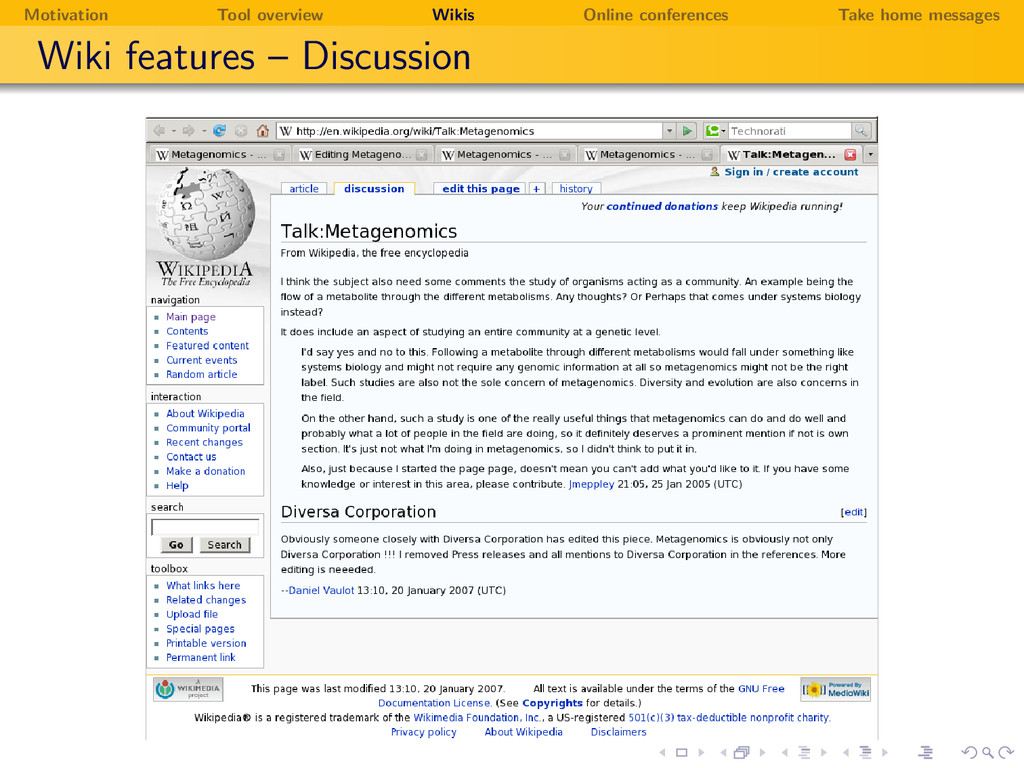 Motivation Tool overview Wikis Online conferenc...