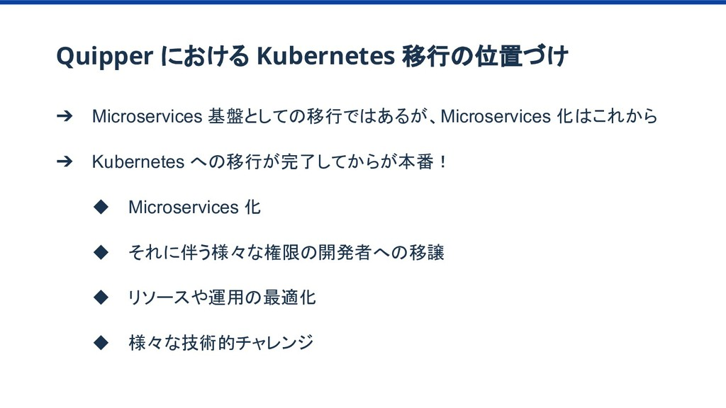 Quipper における Kubernetes 移行の位置づけ ➔ Microservices...