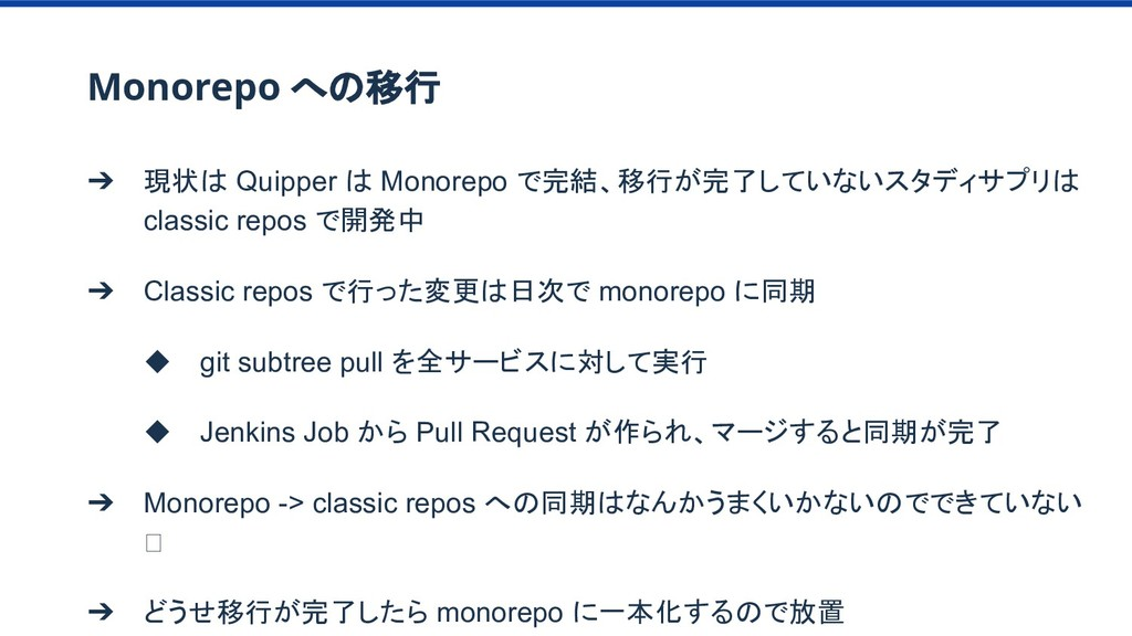 Monorepo への移行 ➔ 現状は Quipper は Monorepo で完結、移行が完...