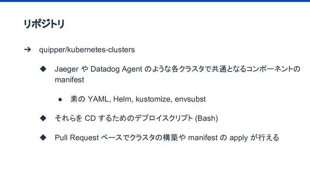 リポジトリ ➔ quipper/kubernetes-clusters ◆ Jaeger や ...