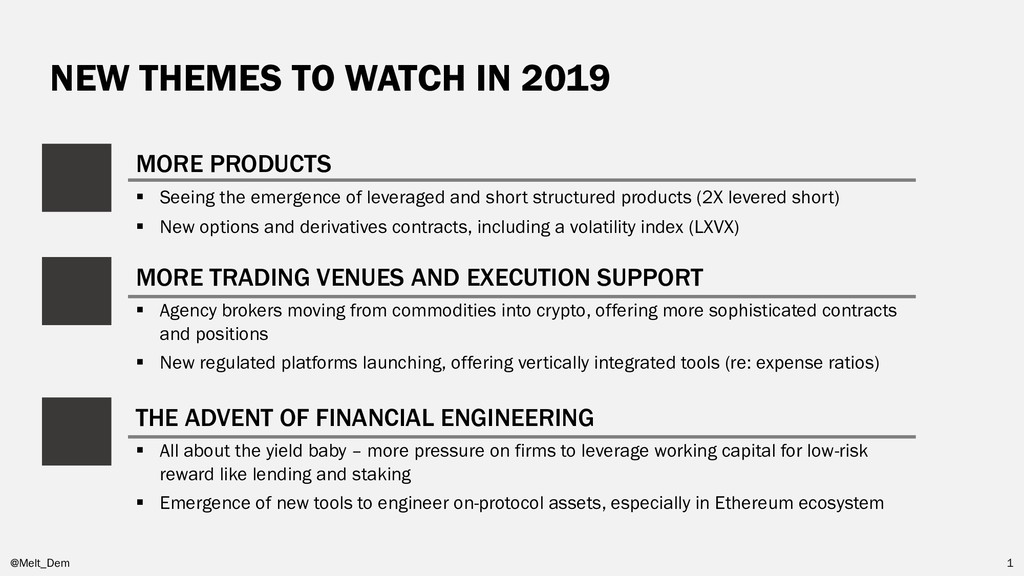 NEW THEMES TO WATCH IN 2019 @Melt_Dem 1 MORE PR...